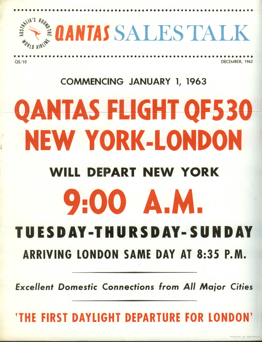 QANTAS Sales Talk Flight QF530 NY-London airline bulletin 12 1962