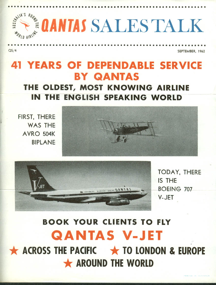 QANTAS Sales Talk 41 Years Dependable Service Boeing 707 airline bulletin 9 1962