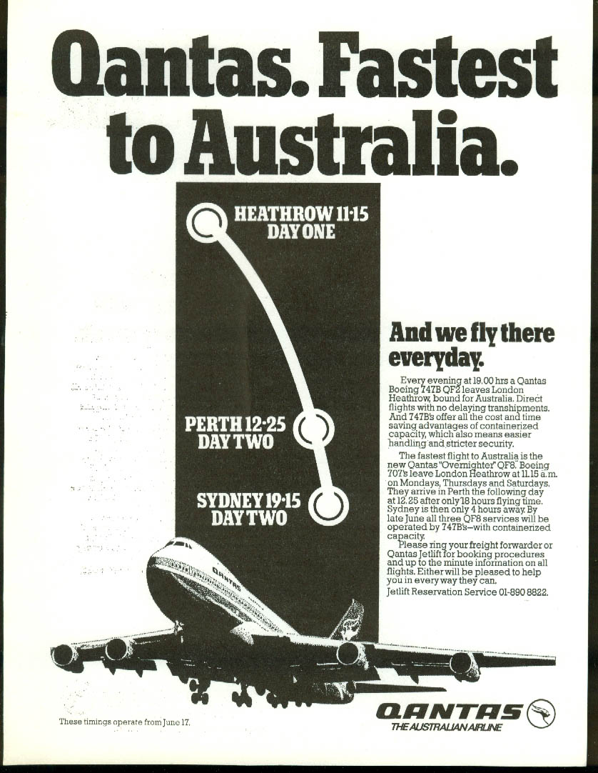 QANTAS Airlines 747B Airfreight airline bulletin card 1970s