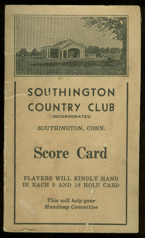 Southington Country Club Golf Score Card ca 1930s Connecticut CT