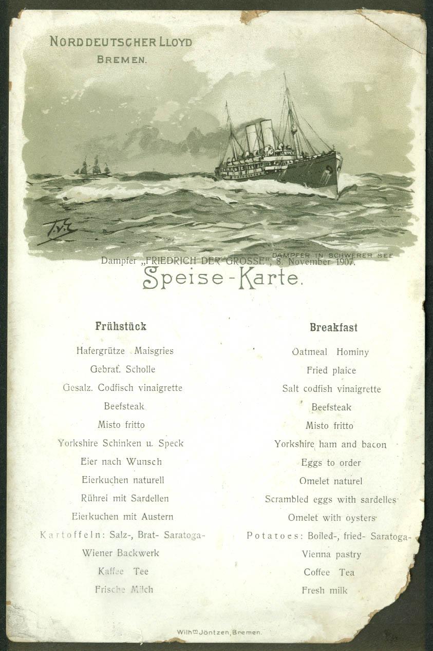 Norddeutscher Lloyd Bremen S S Friedrich der Grosse Breakfast Menu 11/8 1907