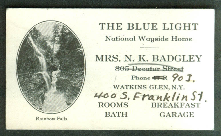 The Blue Light National Wayside Home Watkins Glen NY business card 1920s