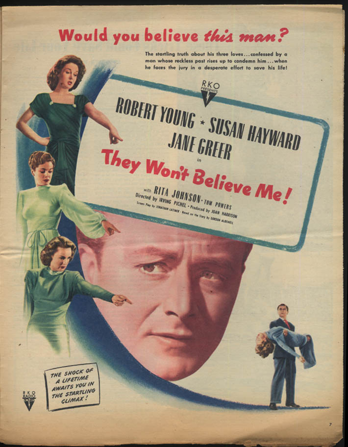 THIS WEEK Mormons; They Won't Believe Me movie ad 7/20 1947
