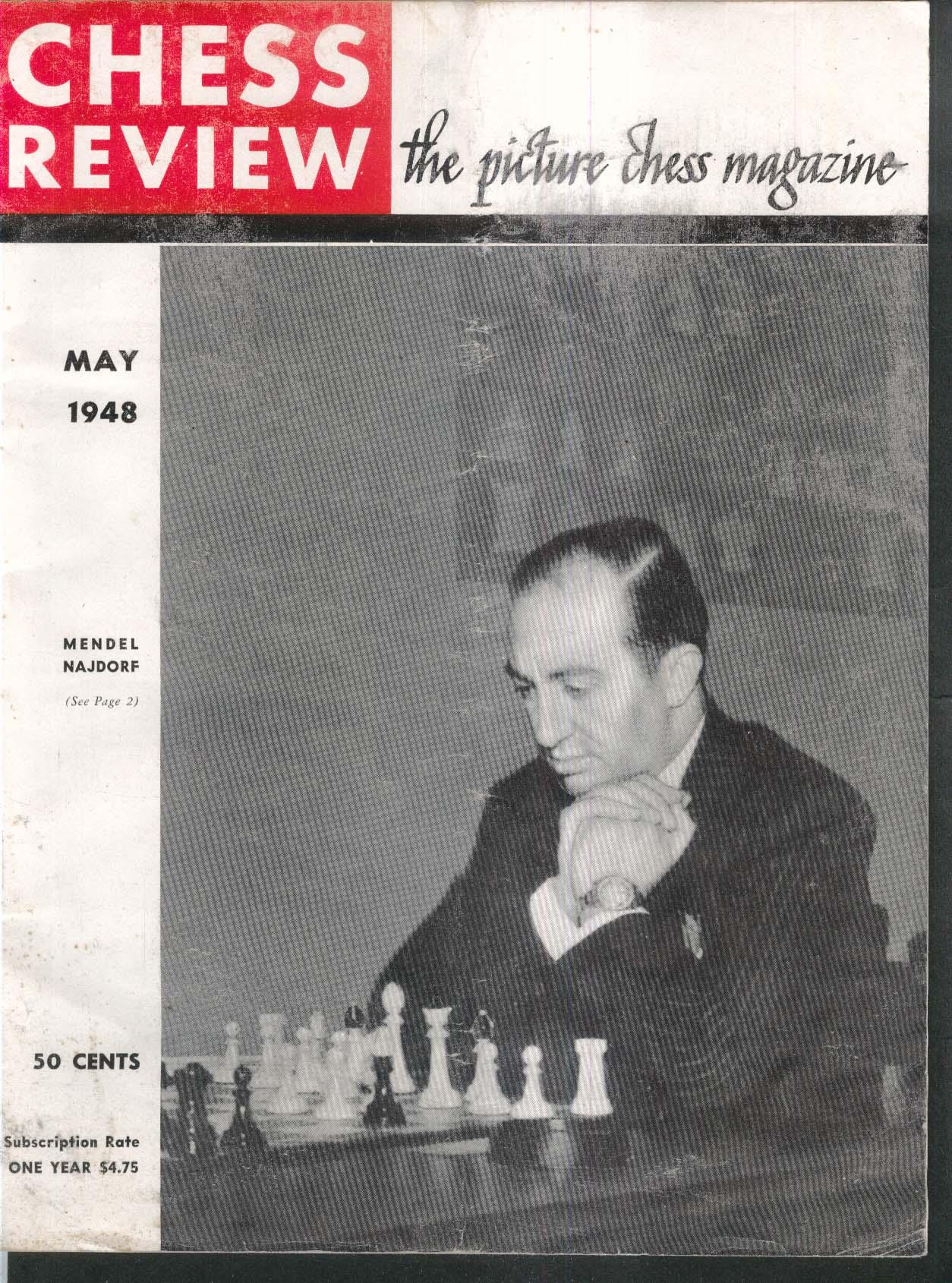 CHESS REVIEW Mendel Najdorf Mikhail Botvinnik Samuel Reshevsky Osias Bain 5 1948
