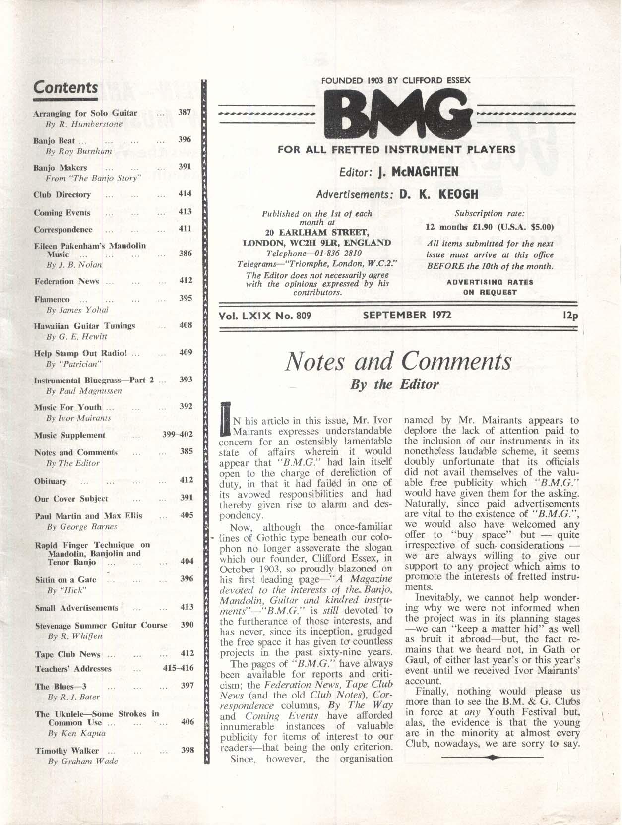 BMG BANJO MANDOLIN GUITAR Paul Ridgway Ukulele Bluegrass + 9 1972