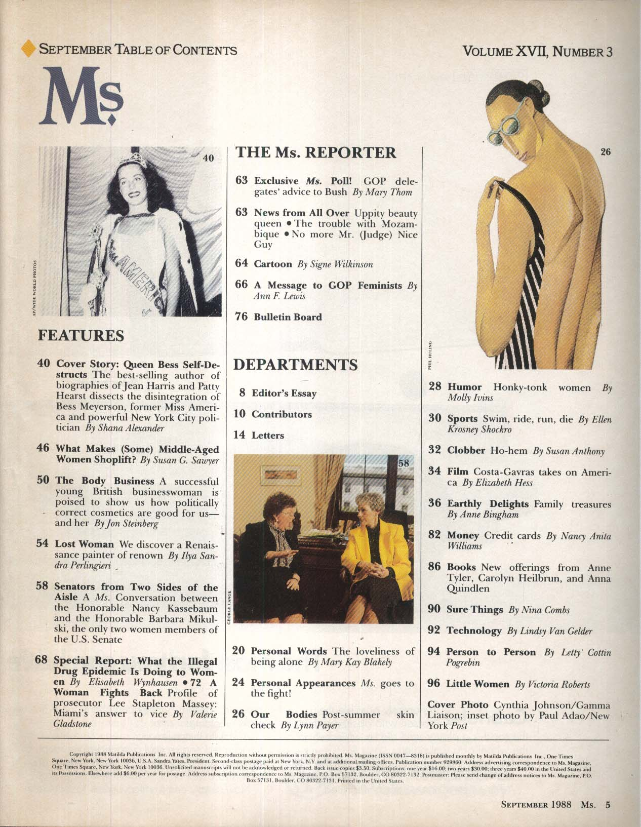 Ms. Bess Myerson Shana Alexander Nancy Kassebaum Barbara Mikulski 9 1988