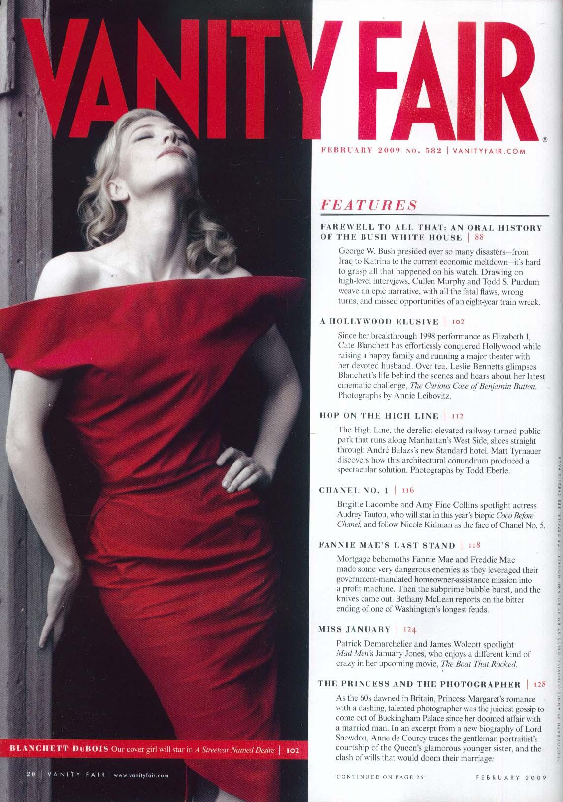 VANITY FAIR Cate Blanchett Leibovitz January Jones Christopher Hitchens + 2 2009