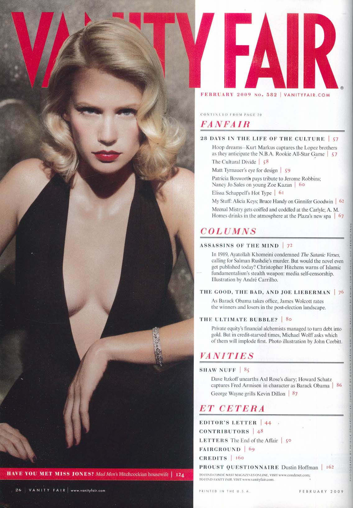 VANITY FAIR Cate Blanchett Leibovitz January Jones Christopher Hitchens + 2 2009