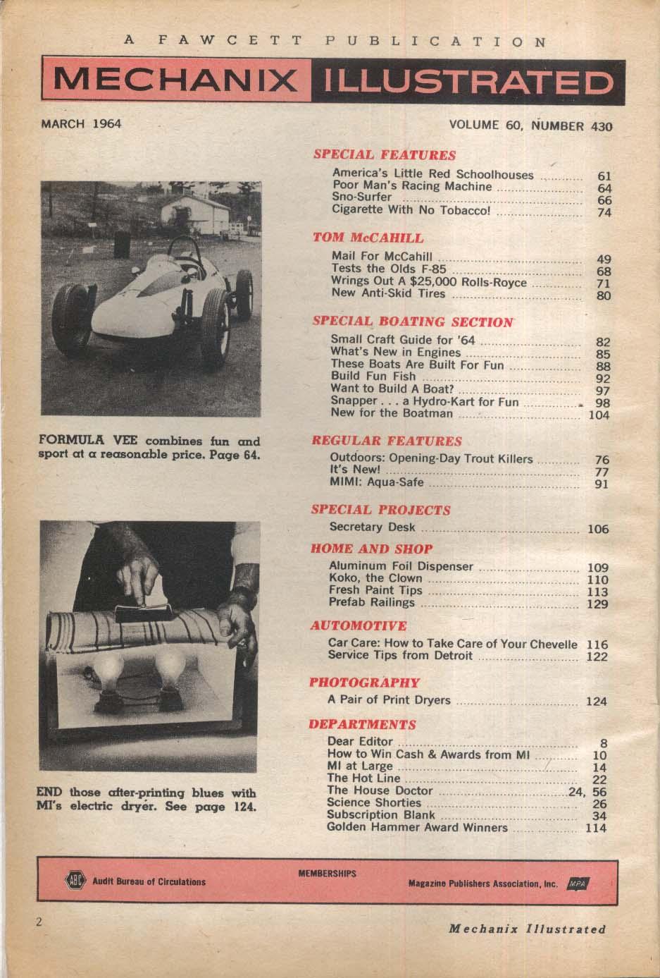 MECHANIX ILLUSTRATED Oldsmobile F-85 Rolls-Royce road tests Chevelle 3 1964
