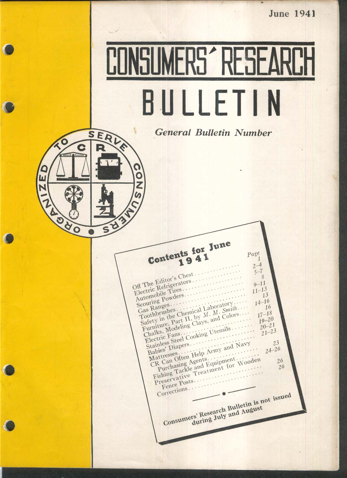 CONSUMERS RESEARCH BULLETIN Refrigerators Tires Gas Ranges Diapers ++ 6 1941
