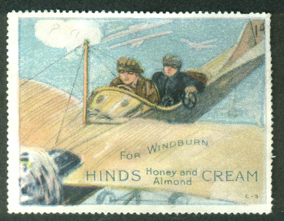 Hinds Honey & Almond Cream for Windburn cinderella stamp aviator monoplane 1910s