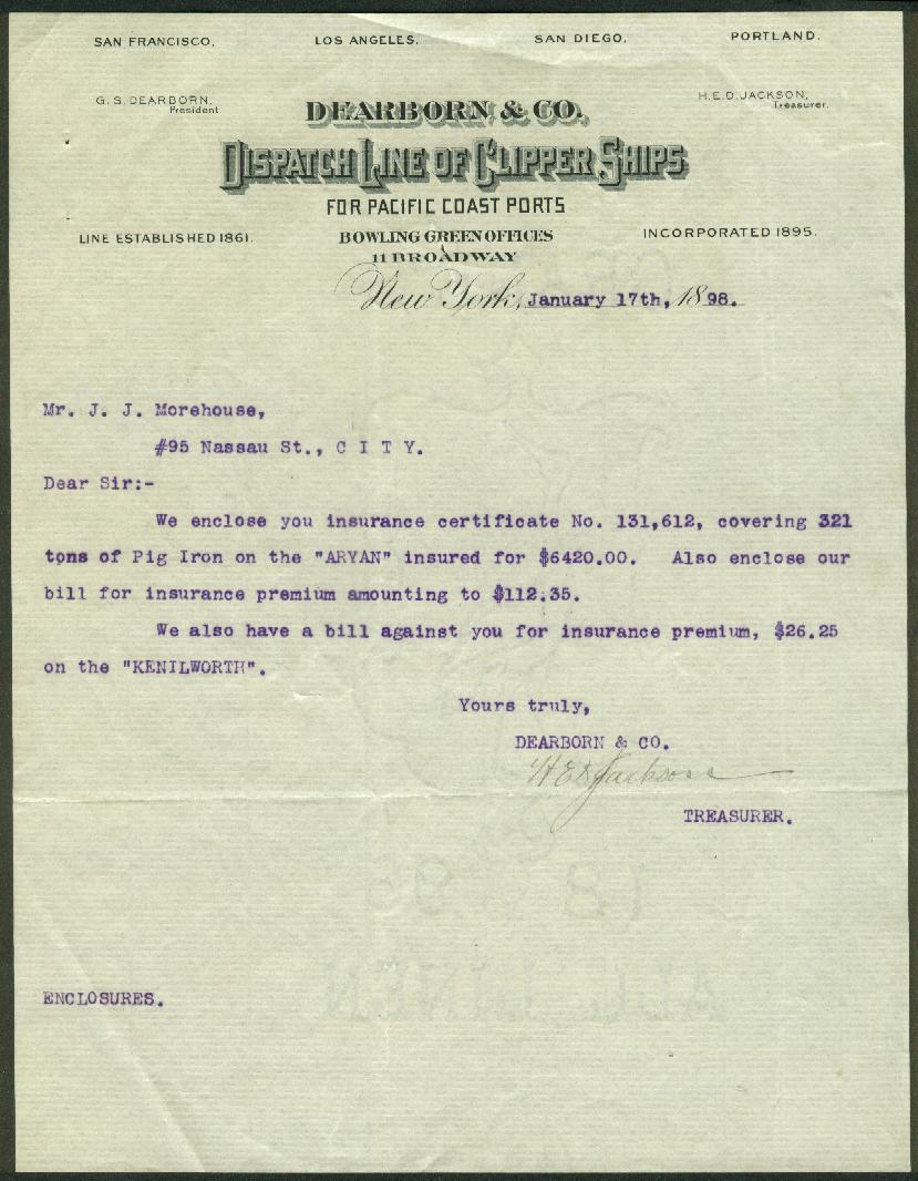 Dearborn & Co Clipper Ship Dispatch Line letter re ship Aryan 1898