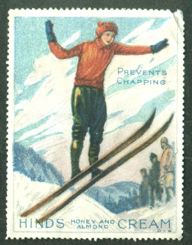 Hinds Honey & Almond Cream Prevents Chapping cinderella stamp ski jumped 1910s