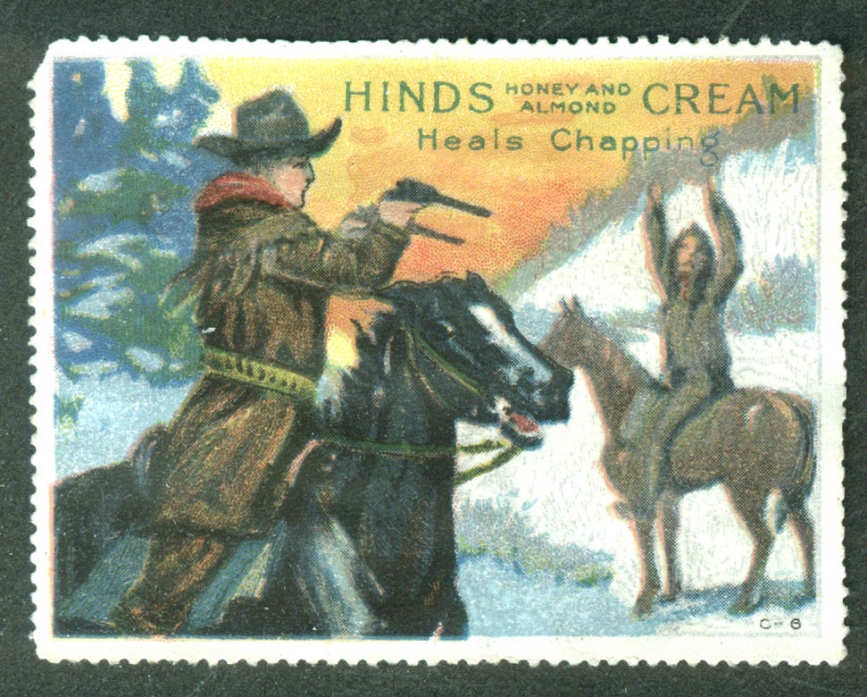 Hinds Honey & Almond Cream Heals Chapping cinderella stamp cowboy & Indian 1910s