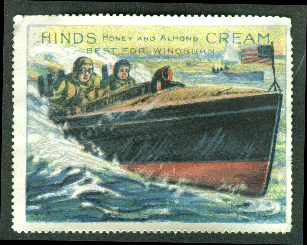 Hinds Honey & Almond Cream for Windburn cinderella stamp speedboat 1910s