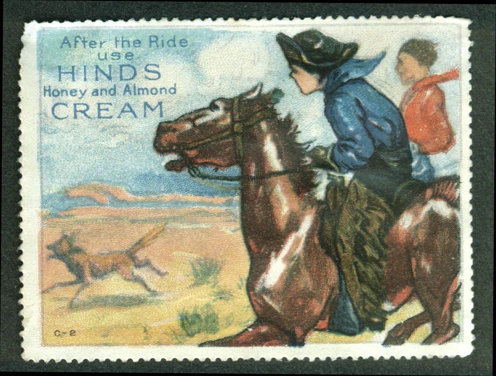 Hinds Honey & Almond Cream After the Ride cinderella stamp horseback 1910s