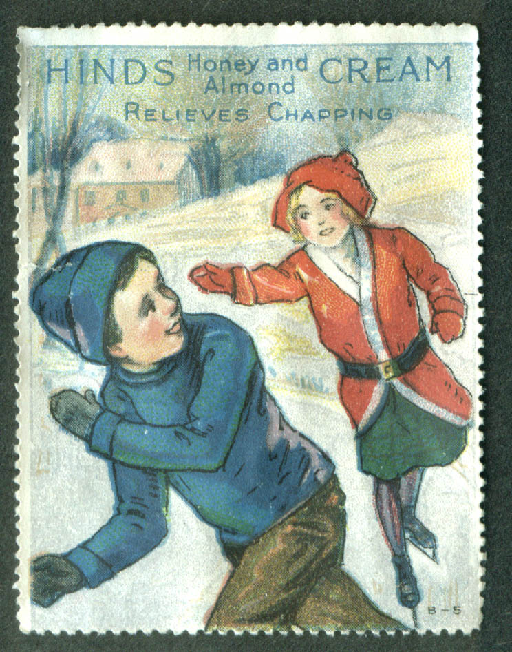 Hinds Honey & Almond Cream Relieves Chapping cinderella stamp skaters 1910s