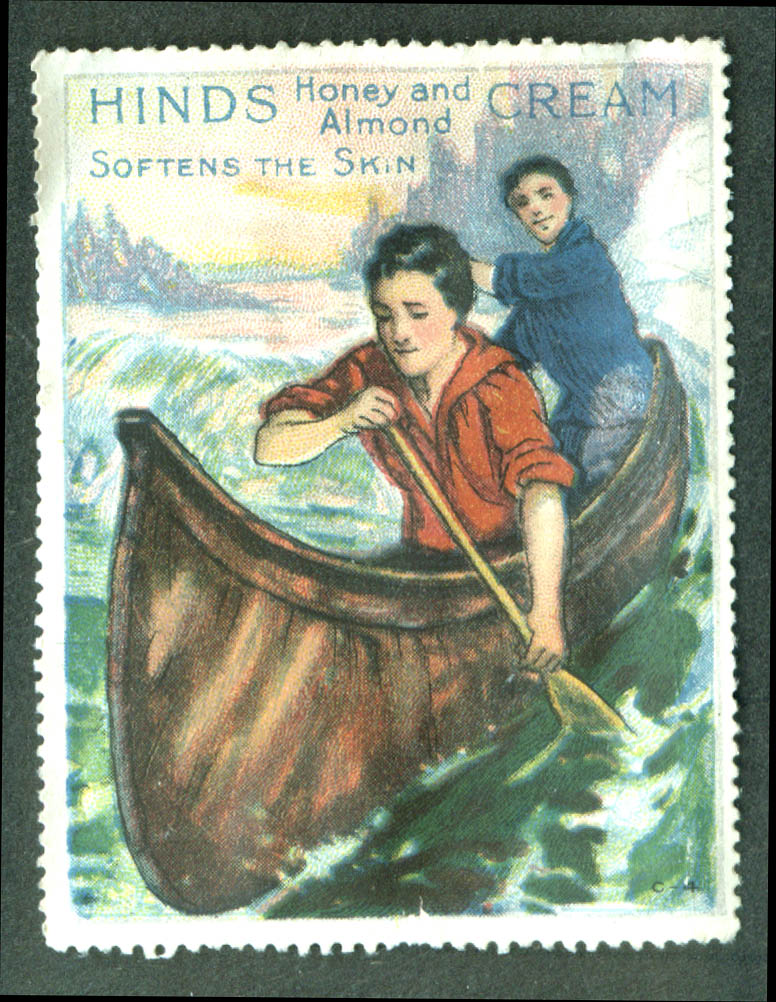 Hinds Honey & Almond Cream Softens Skin cinderella stamp canoeing 1910s