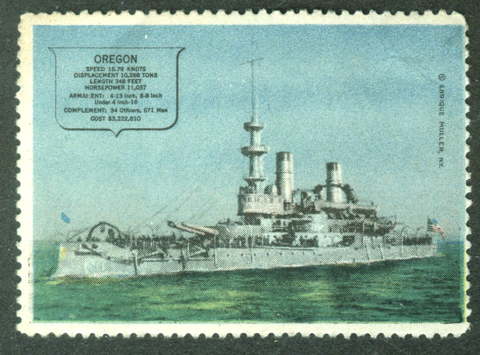 Battleship USS Oregon BB-3 cinderella stamp Enrique Miller 1910s
