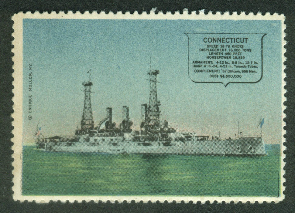 Battleship USS Connecticut BB-18 cinderella stamp Enrique Miller 1910s