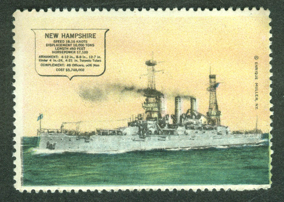 Battleship USS New Hampshire BB-25 cinderella stamp Enrique Miller 1910s