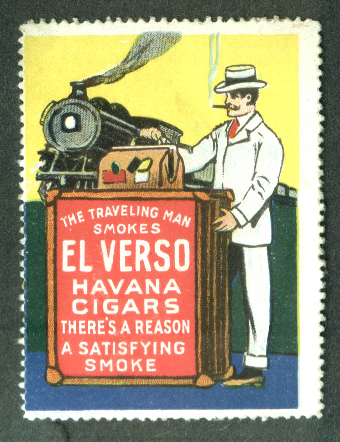 El Verso Havana Cigars cinderella stamp 1910s Traveling man train
