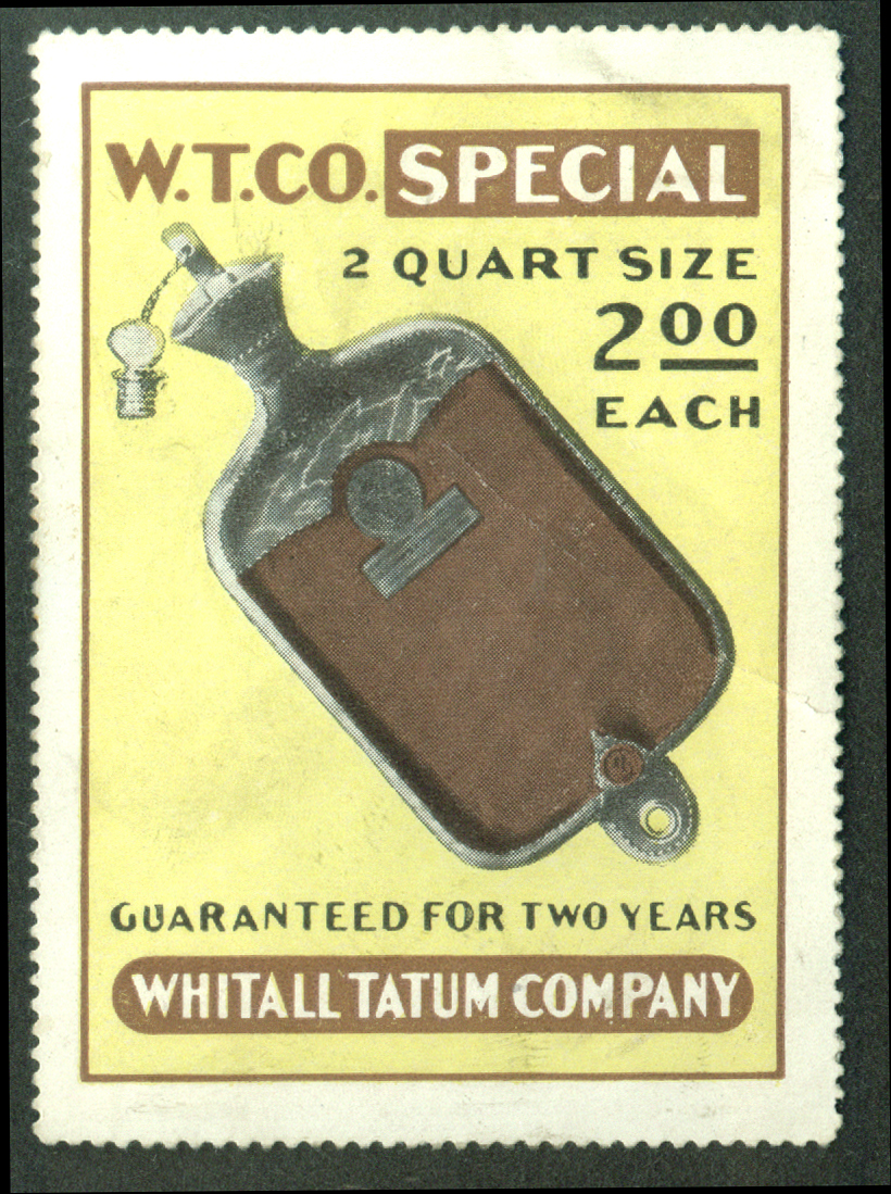 Whitall Tatum 2 Quart Hot Water Bottle cinderella stamp 1910s