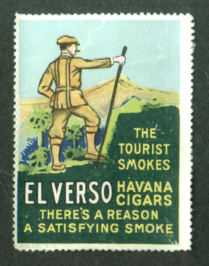El Verso Havana Cigars cinderella stamp hiking in mountain 1910s