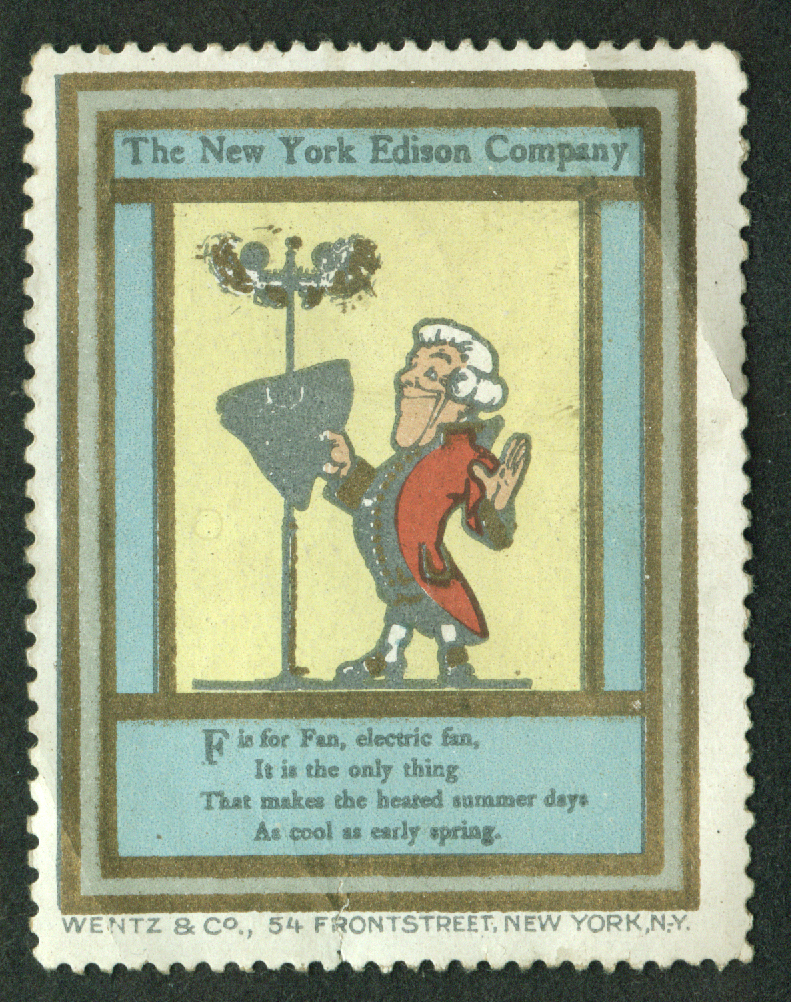 New York Edison F is for Electric Fan cinderella stamp 1910s