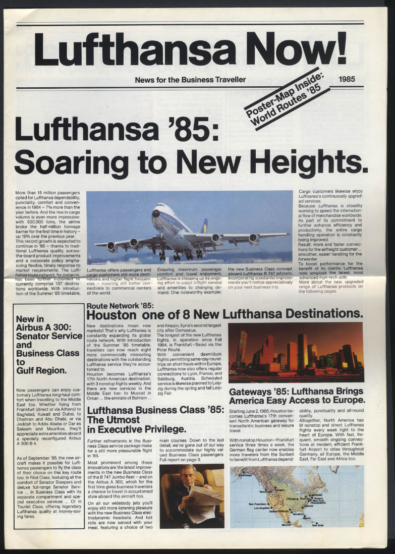 LUFTHANSA NOW! 1985 Business Traveller airline News German Airlines