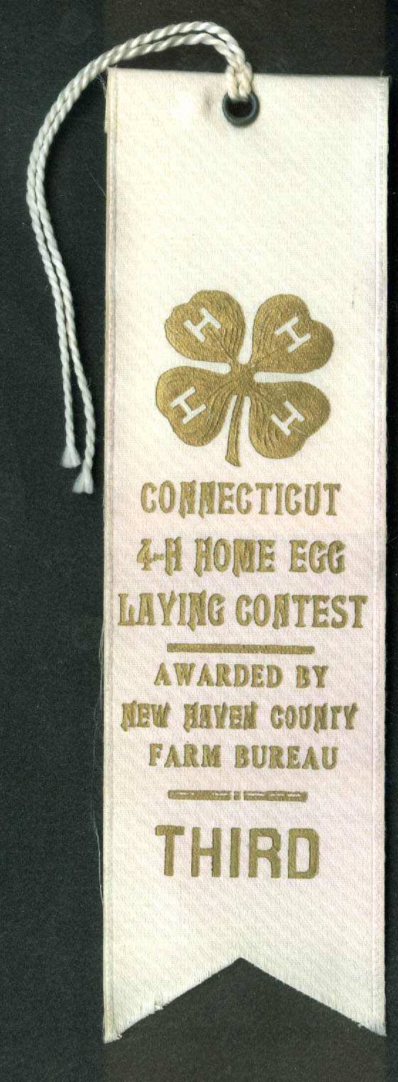 Connecticut 4-H Home Egg Laying Contest 3rd Prize Ribbon ca 1920s
