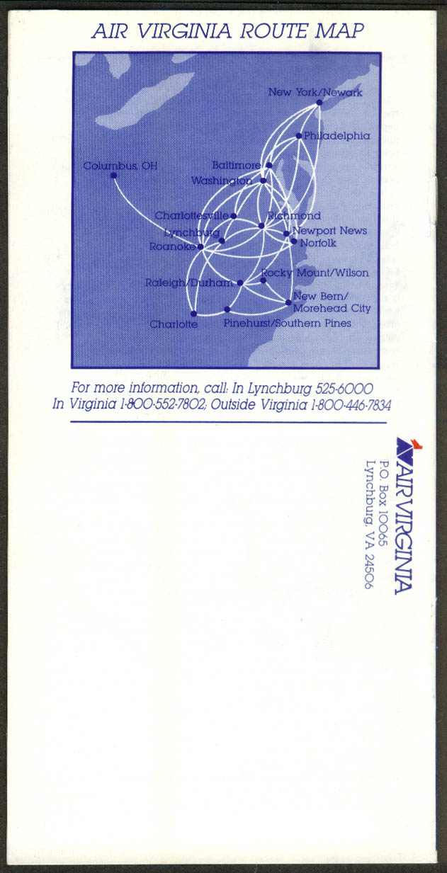 Air Virginia airline timetable 5/1 1984