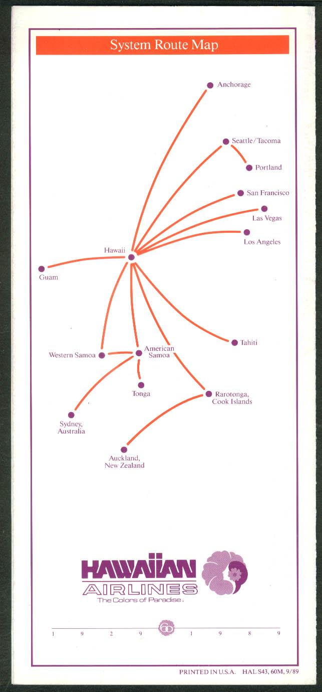 Hawaiian Airlines Interisland airline timetable 9/6 1989
