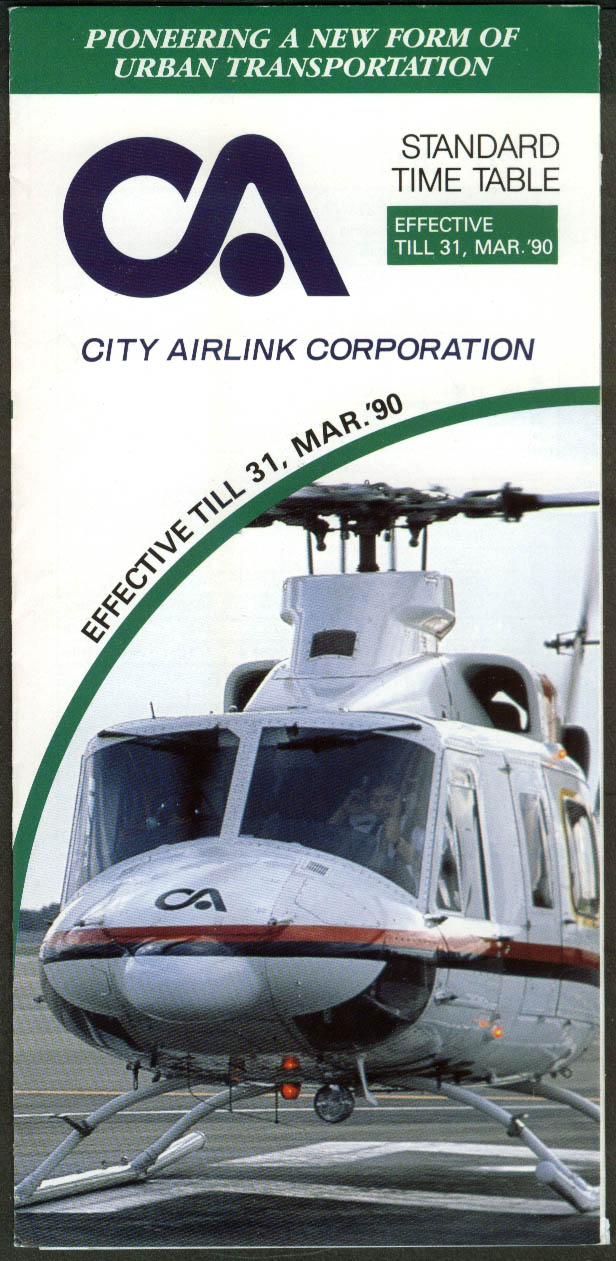 City Airline Helicopter Airline Timetable 1990 Japan intercity service