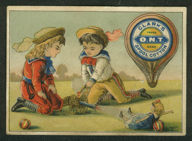 Clark's O N T Spool Cotton Thread trade card toy cannon shoots doll