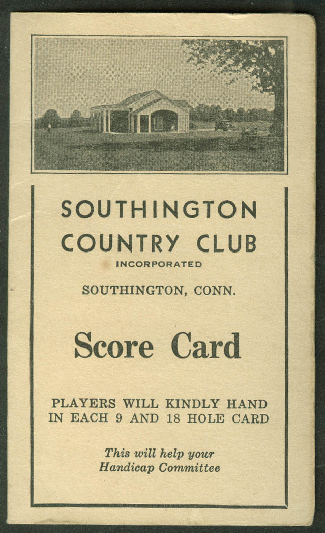 Southington Country Club Score Card unused 1920s Southington CT