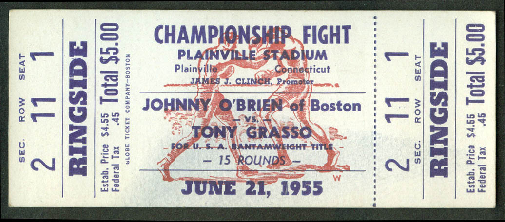Johnny O'Brien v Tony Grasso USA Bantamweight Championship ticket 1955