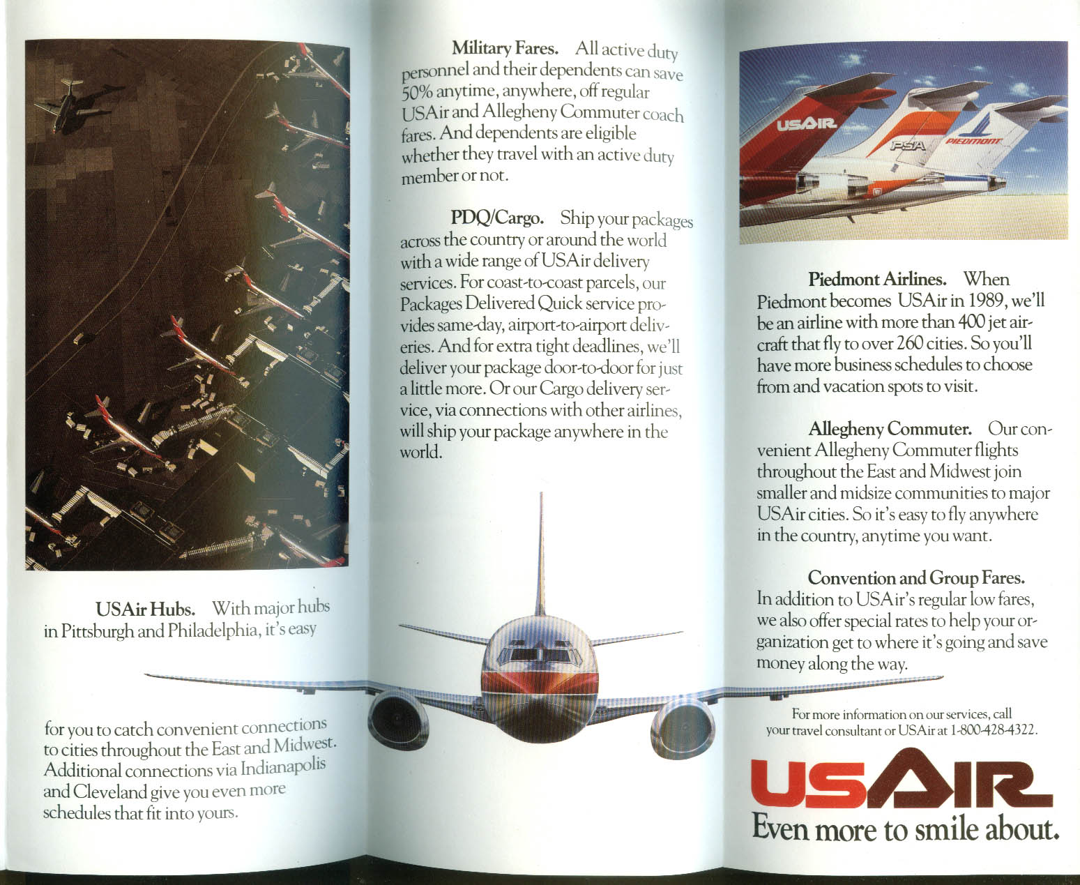 Smile! Pacific Southwest Airlines is now USAir airline folder 1987