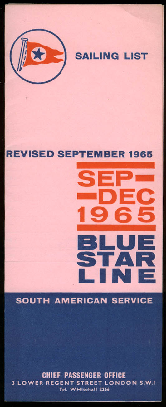 Blue Star Line Sailing List Steamship Schedule 9 1965