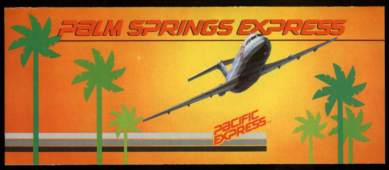Pacific Express Palm Springs Express airline folder 1983