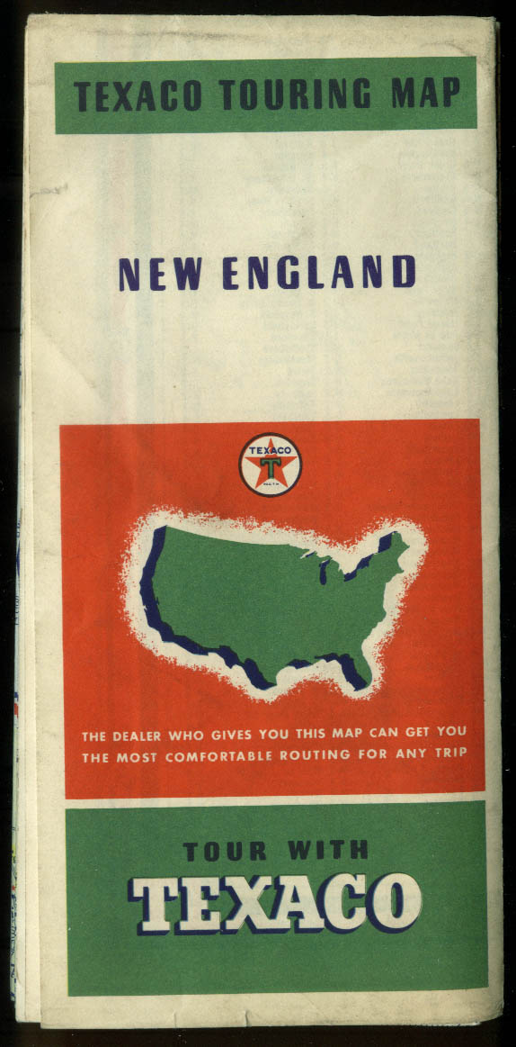 Image for Texaco Gasoline Touring Map New England 1937 Road Map
