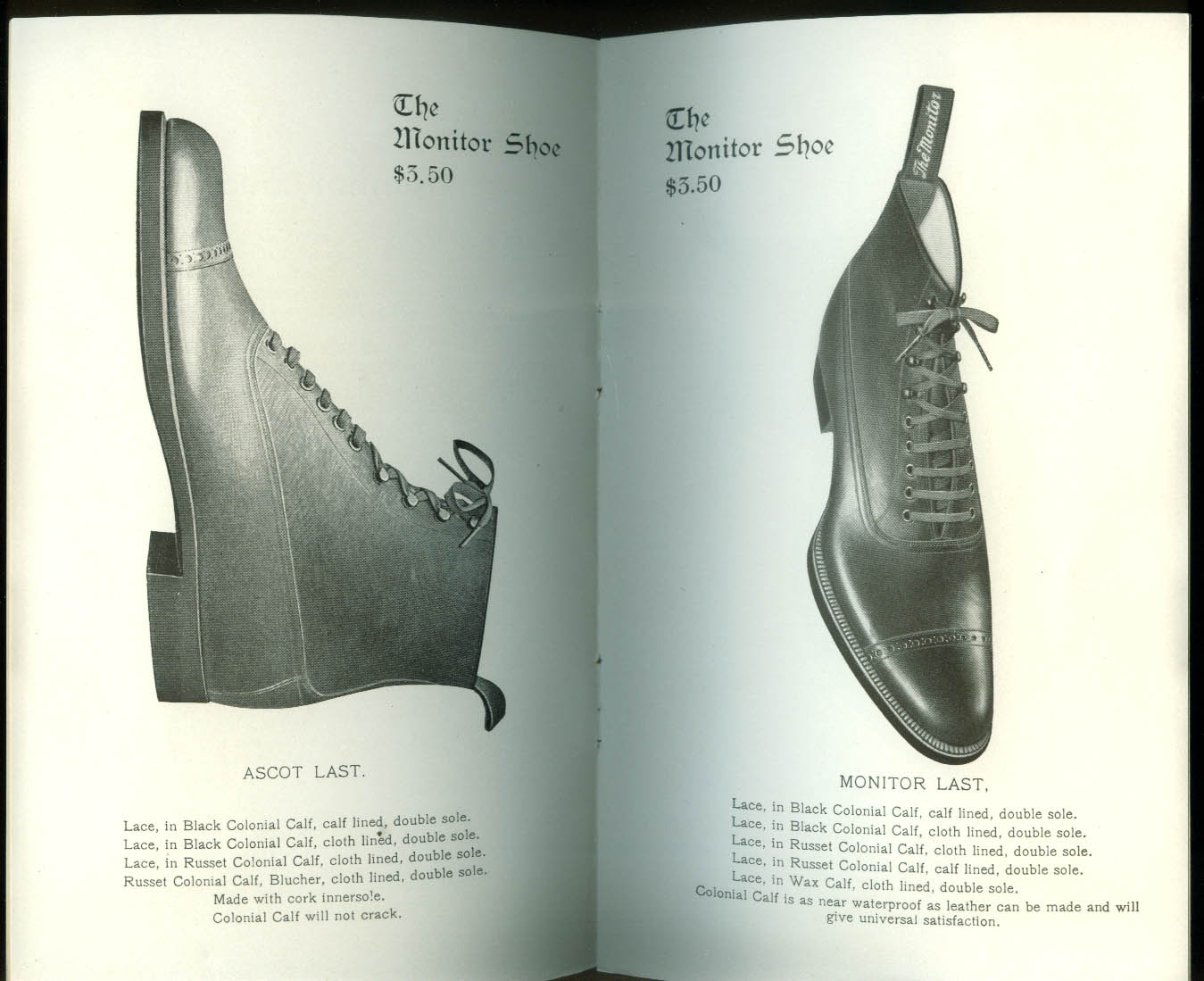 Monitor Shoe $3.50 sales catalog New York City Holbrook MA ca 1900