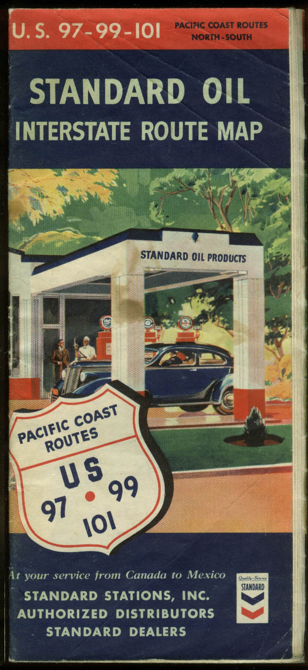 Standard Oil Interstate Road Map US  Pacific Coast - Map of us pacific coast