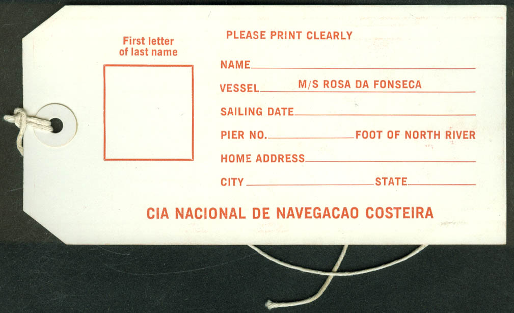 Costeria Lines M S Anna Nery Rosa da Fonseca 1st Class ocean liner baggage tag