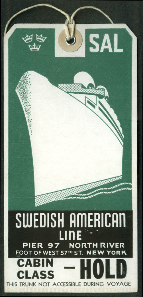 Swedish American Line Cabin Class Hold ocean liner baggage tag unused
