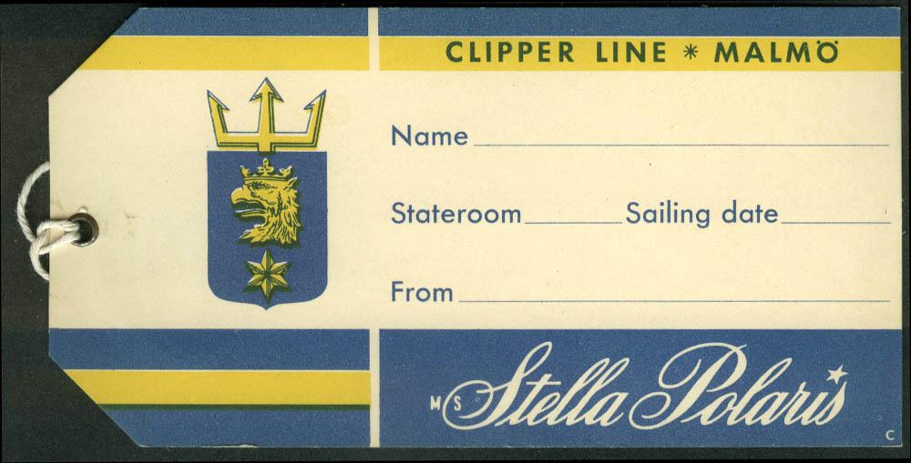 Clipper Line M S Stella Polaris ocean liner baggage tag unused