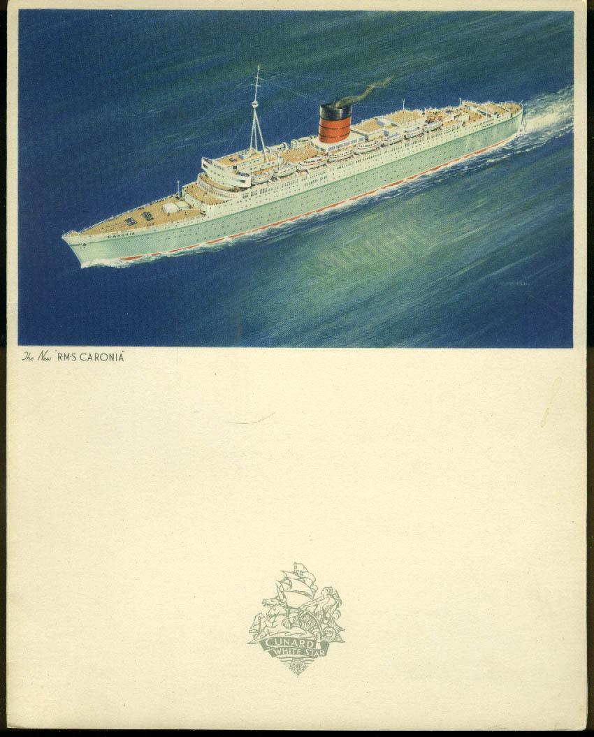 Cunard Line R M S Caronia North Cape Cruise Farewell Dinner Menu 8/1 1953
