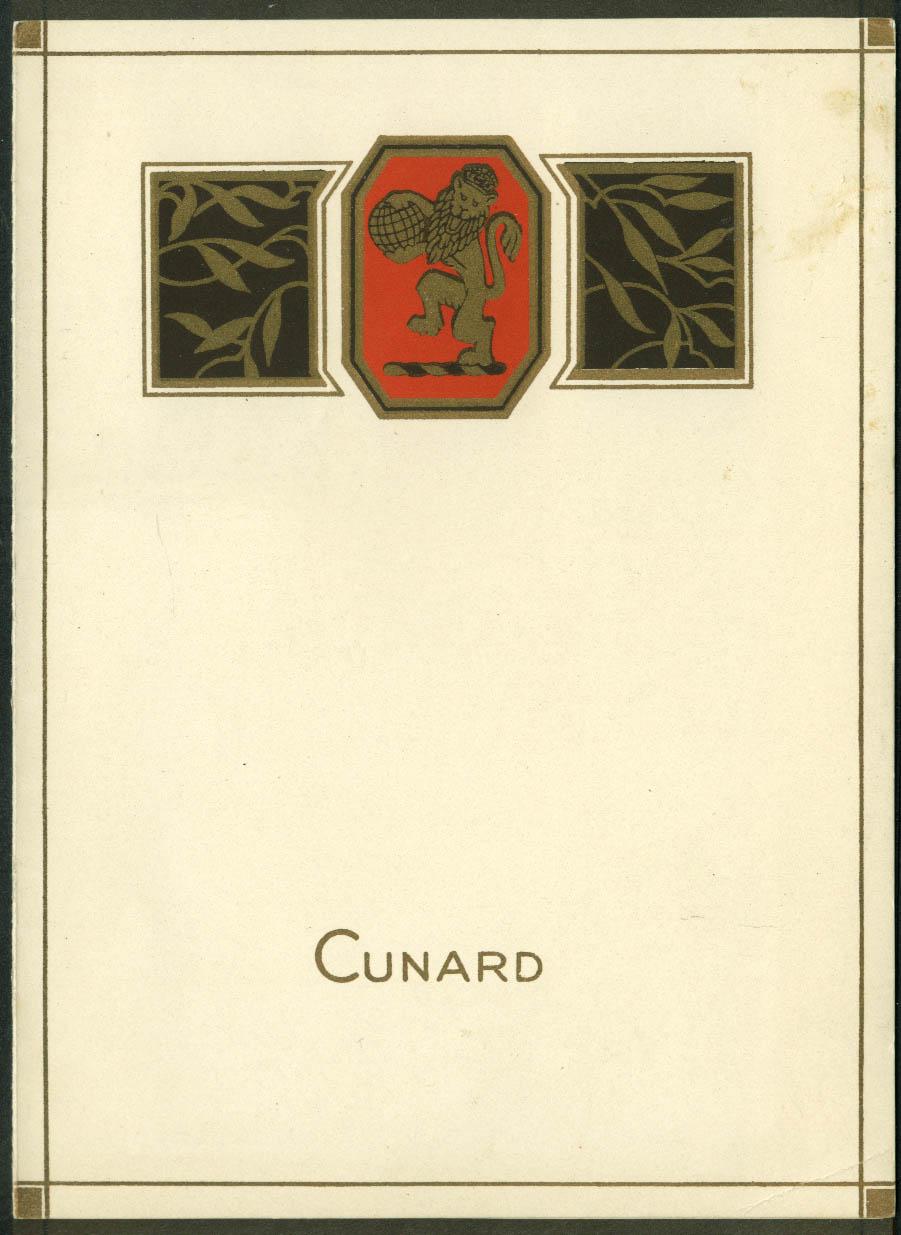 Cunard R M S Carmania Luncheon Menu 7/25 1928