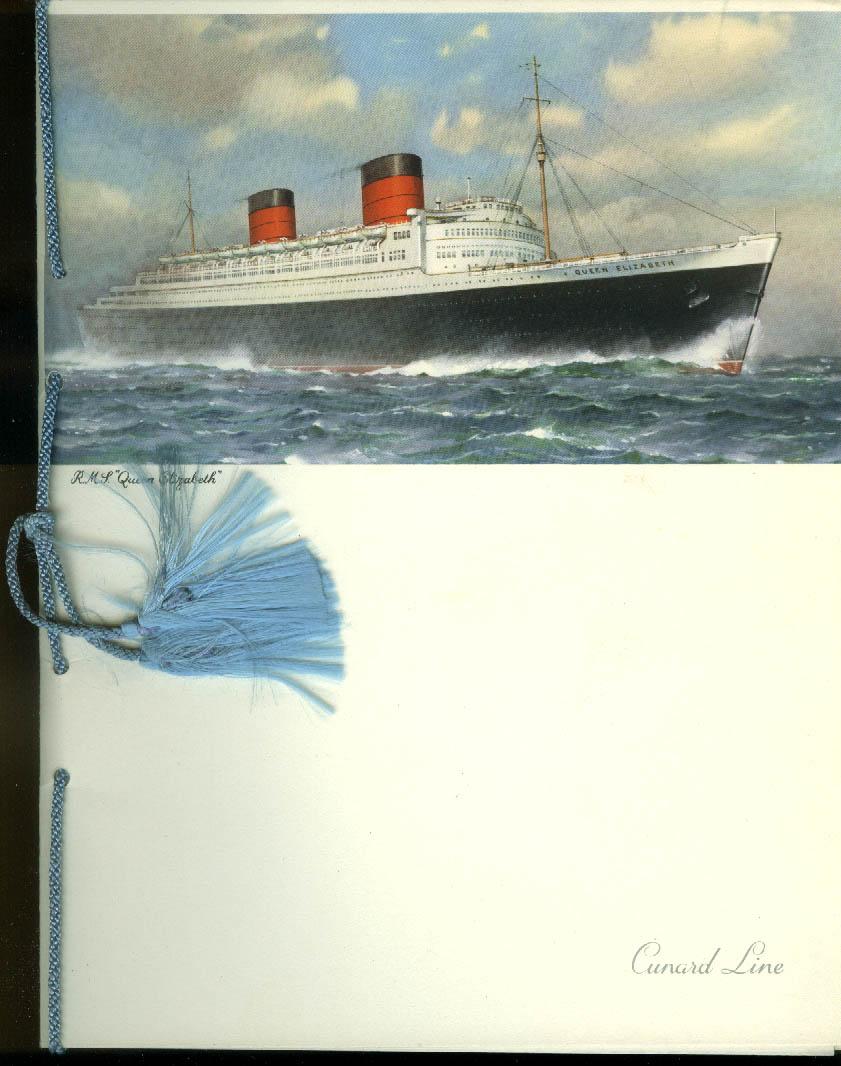 Cunard R M S Queen Elizabeth Gala Dinner Menu 6/7 1958
