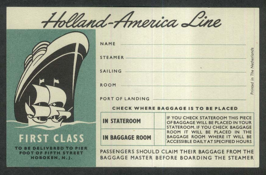 Holland-America Line First Class unused baggage sticker